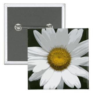 Single White Daisy Pinback Button