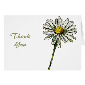 Single White Daisy: Thank You Stationery Note Card