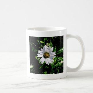 single white flower coffee mug