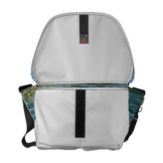 Single white flower water reed pond courier bag
