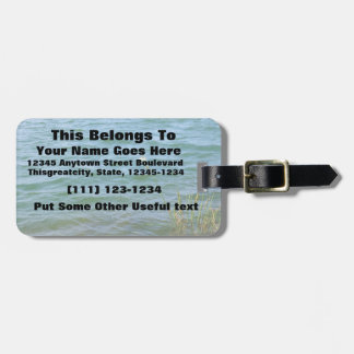 Single white flower water reed pond tags for luggage