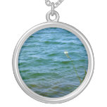 Single white flower water reed pond custom necklace