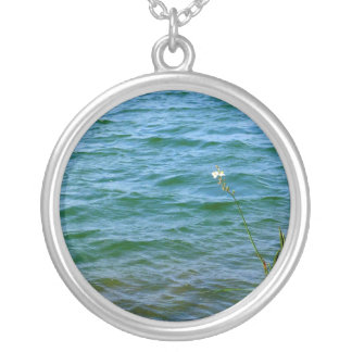 Single white flower water reed pond personalized necklace