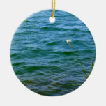 Single white flower water reed pond christmas ornaments