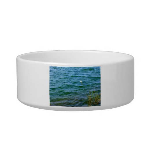 Single white flower water reed pond pet water bowls