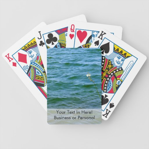 Single white flower water reed pond poker cards