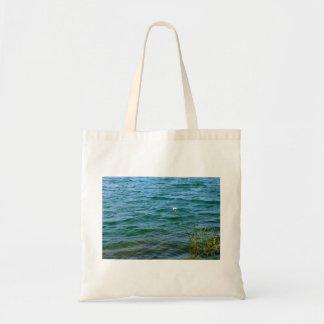 Single white flower water reed pond tote bag