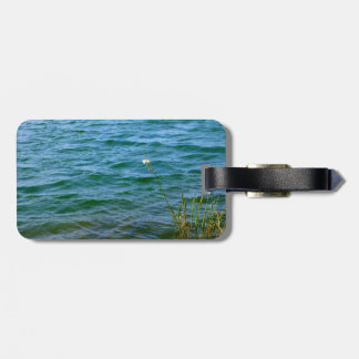 Single white flower water reed pond travel bag tag