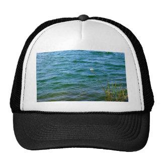 Single white flower water reed pond trucker hat
