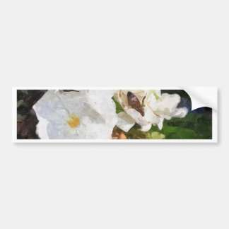 Single White Oleander with Bee 1 Painterly Bumper Sticker