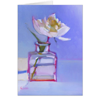 'Single White Peony in Glass Vase' Stationery Note Card