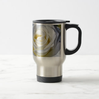 Single white rose blossoms travel mug