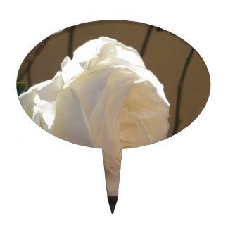 Single white rose flower on brown background cake topper