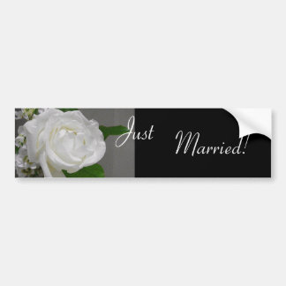 Single White Rose Wedding Bumper Sticker Car Bumper Sticker