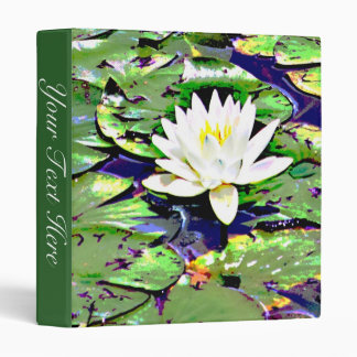 Single White Water Lilly Photography Print Album 3 Ring Binder