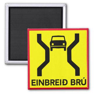 Single-Width Bridge, Traffic Sign, Iceland 2 Inch Square Magnet