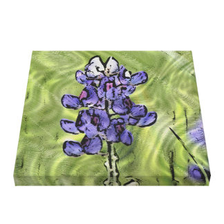 Single Wildflower: Bluebonnet Simulated Painting Stretched Canvas Prints