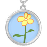 Single Yellow Flower Cartoon  Necklace