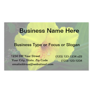 single yellow flower w orange and green business card