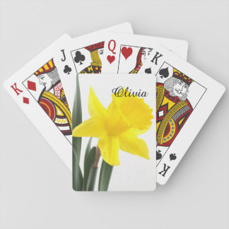 Single Yellow Narcissus Daffodil Playing Cards
