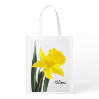 Single Yellow Narcissus Daffodil Reusable Grocery Bag