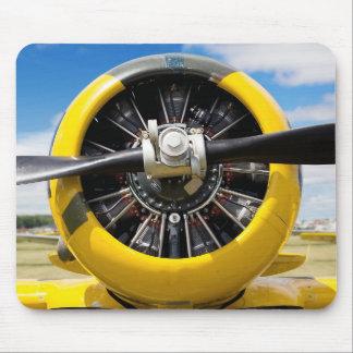 Single Yellow Prop Airplane Propeller Closeup Mouse Pad
