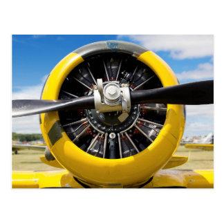 Single Yellow Prop Airplane Propeller Closeup Postcard