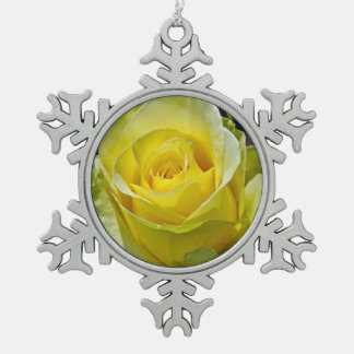 Single yellow rose christmas ornament