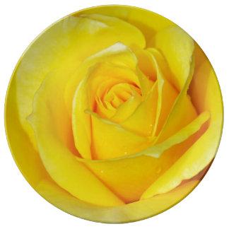 Single yellow rose print porcelain plate