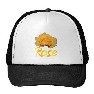 "Single yellow rose with ""Rose"" in yellow & Orange Hats"