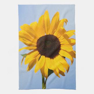 Single yellow sunflower kitchen towels
