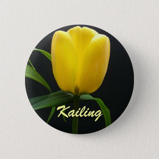 Single yellow tulip flower button