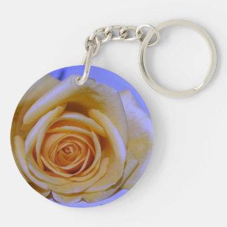 Single yellowish rose blue tinted acrylic keychain