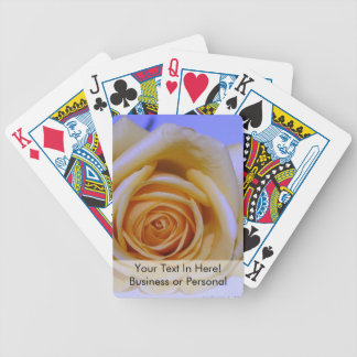 Single yellowish rose blue tinted bicycle playing cards