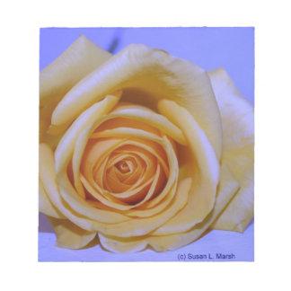 Single yellowish rose blue tinted scratch pad