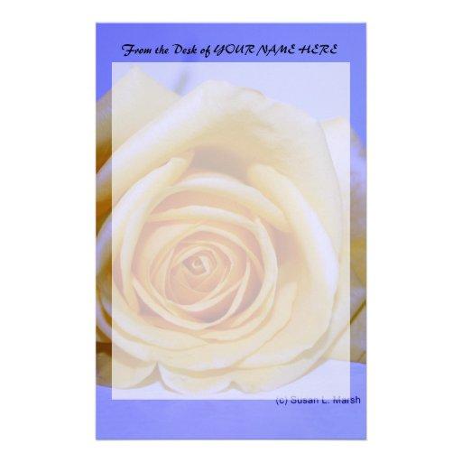 Single yellowish rose blue tinted stationery