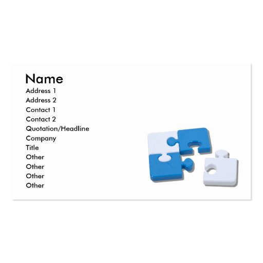 SingledPiecePuzzle101310, Name, Address 1, Addr... Business Card Templates