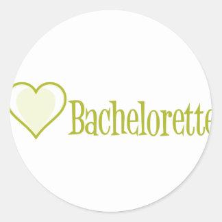 SingleHeart-Bachelorette-Ylw Pegatina Redonda