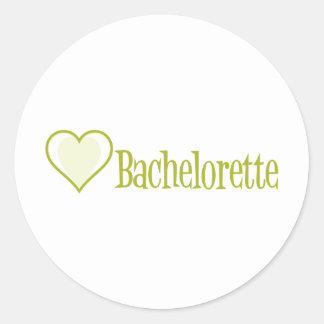 SingleHeart-Bachelorette-Ylw Round Stickers