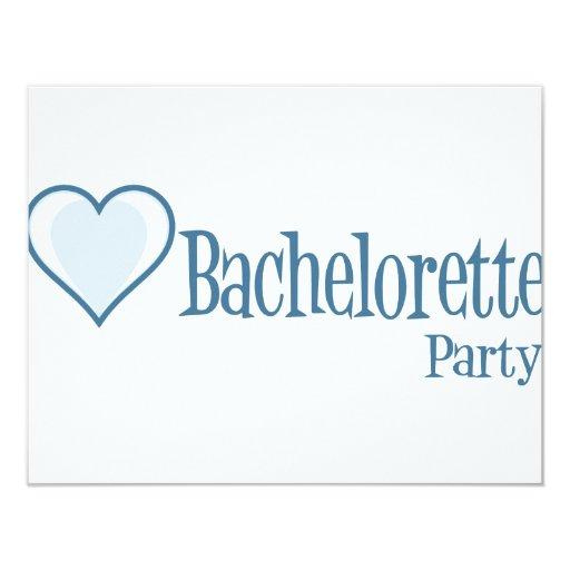 """SingleHeart-BacheloretteParty-Azul Invitación 4.25"""" X 5.5"""""""