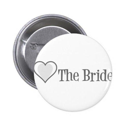 SingleHeart-Bride-Grey Pinback Button