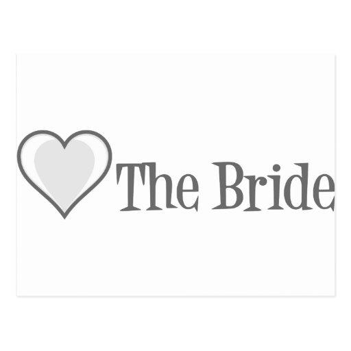 SingleHeart-Bride-Grey Post Cards