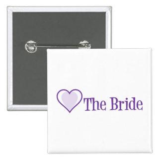 SingleHeart-Bride-Purp Button