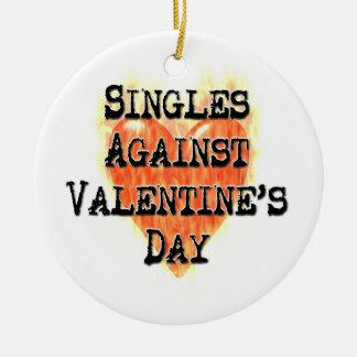 Singles Against Valentines Day Ceramic Ornament