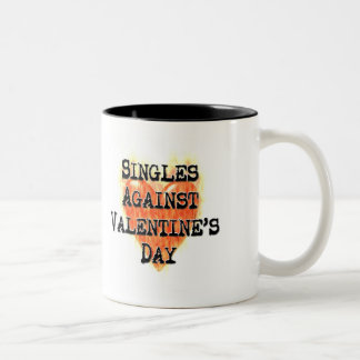 Singles Against Valentine's Day Two-Tone Coffee Mug
