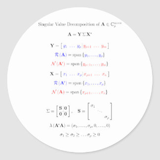 Singular value decomposition into subspaces classic round sticker