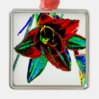 Singularidad floral adorno navideño cuadrado de metal