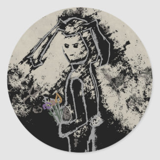 sinister bunny classic round sticker