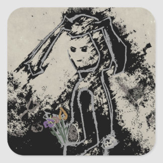 sinister bunny square sticker