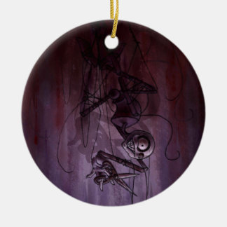 Sinister Descent, Creepy Puppet Cutting Strings Ceramic Ornament